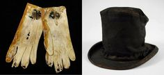 Items salvaged from the Titanic: gloves and a collapsible top hat.