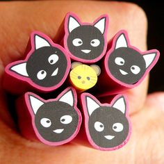 Black and Pink Cat Fimo Cane Kawaii Animal Polymer Clay Cane (Large / Big) Nail Art Deco Scrapbooking. $3.50, via Etsy.