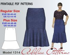 Calf-length Skirt Sewing Pattern PDF sizes 12-22 | Craftsy