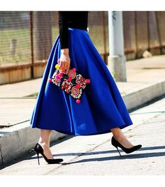 The supersaturated blue of that ASOS skirt is gorgeous. For summer, try wedges (or even cute sandals) with a skirt of this length.