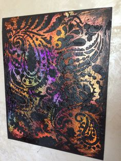 Finish using a Cutting Edge Stencil.  By Kathy Boyd, A Fabulous mix of colors and metallics!