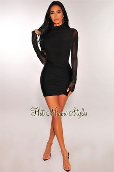 We are obsessing over this black dress! Made with mesh long sleeves and a sexy glistening ruched fabric which gives support and shape. White Maxi Dresses, Black Midi Dress, Navy Blue Dresses, Dresses With Sleeves, Keyhole Dress, Hot Miami Styles, Mesh Long Sleeve, Miami Fashion, Bell Sleeve Dress