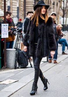 Leather, fur and a cool hat is a recipe for style success!