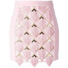 Balmain tassel panel skirt ($6,500) ❤ liked on Polyvore featuring skirts, bottoms, balmain, short pink skirt, short skirts, balmain skirt and panel skirt