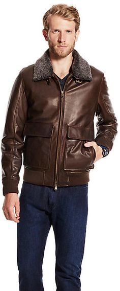 Brown Leather Bomber Jacket by Vince Camuto. Buy for $598 from Vince Camuto