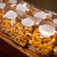 Flavored popcorn favors were a hit with guests who attended this wedding at a historic movie theater.