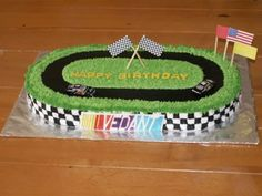 Marble cake with custard filling, iced in buttercream.  Cars and...