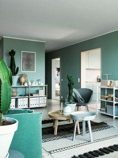 couleur de peinture pour salon couleur vert menth tapis beige canape vert