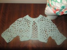 Girls Light Green Bolero by SuzannesStitches, Girls Shrug, Girls Green Sweater, Girls Green Cardigan, Cropped Top, Lacy Bolero, Summer Shrug by SuzannesStitches on Etsy