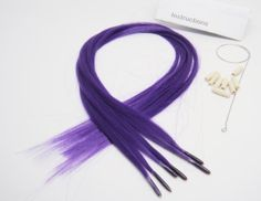 """Beautiful Color Hair Extensions New Generation Purple by OPT. $7.99. Features: You can blow-dry, straighten, curl, wash, and trim them to desired length as if they are actual strands of hair. The hair extension can be heated up to 195 degrees Fahrenheit.. Package Includes: 6 pieces of 16"""" purple hair extensions + 8 pieces links + tool + instruction w/pictures.. User-friendly: only 1-2-3 steps:: 1. slip a link onto the hook tool 2. Use the hook of the tool to pull a small am..."""