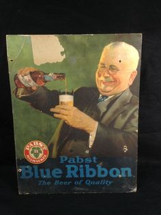 Pabst Blue Ribbon Beer Lithograph Cardboard Sign Milwaukee WI PBR Vintage 1930 s #pabst #pbr #pabstbrewingcompany #cjbeez #breweriana