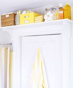 shelf above door in bathroom and other organizing ideas
