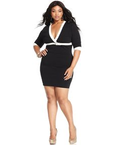 Oh did I LOVE this dress! but it was for the Lisa unfortunetly. It is smokin' HOT! Baby Phat Plus Size Dress, Three-Quarter-Sleeve Colorblocked Bandage - Baby Phat - Plus Sizes - Macy's - fashion lingerie, honeymoon lingerie, wholesale lingerie *ad Curvy Girl Fashion, White Fashion, Plus Size Fashion, Plus Size Dresses, Plus Size Outfits, Mini Dresses, Sexy Outfits, Fashion Outfits, Women's Fashion