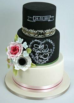 Chalkboard Floral Cake