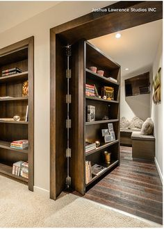 31 Insanely Clever Remodeling Ideas For Your New Home Would absolutely add secret rooms & one safe room with same hidden idea.one would be mine, all mine.to just hide & read! Safe Room, Style At Home, Home Fashion, My Dream Home, Dream Homes, Home Projects, Led Projects, Future House, Home Goods