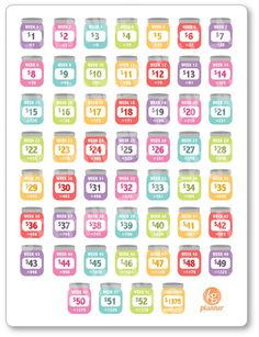 One 6 x 8 sheet of REVERSE 52 (+ a bonus Challenge Complete) week savings challenge planner stickers cut and ready for use in your Erin Condren life Mehr 52 Week Savings Challenge, Money Saving Challenge, Money Saving Tips, Money Tips, 365 Penny Challenge, Money Budget, Managing Money, Savings Planner, Budget Planer