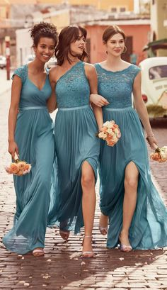 New Mixed Teal Bridesmaid Dresses Lace Top A Line Split Long Chiffon Beach Country Maid Of Honor Gowns Cheap Customized Davids Bridal Bridesmaid Dresses, Wedding Bridesmaid Dresses, Wedding Attire, Dresses Dresses, Modest Wedding, Long Dresses, Blue Dresses, Turquoise Bridesmaid Dresses, Designer Bridesmaid Dresses