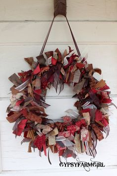 Ribbon Wreath with Red, Gold, and Brown Material and Ribbon - Rag Wreath Wreath Crafts, Diy Wreath, Diy Crafts, Holiday Wreaths, Holiday Crafts, Christmas Decorations, Do It Yourself Design, Deco Mesh Wreaths, Rag Wreaths
