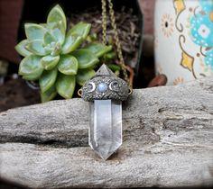 Crystal Quartz Necklace  Moonstone Jewelry  by MermaidTearsDesigns