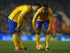 Neymar JR (11) and Lionel Messi of Barcelona speak during the La Liga match between Valencia CF and FC Barcelona at Estadi de Mestalla on December 05, 2015 in Valencia, Spain.