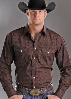 Mens Rough Stock Brown Vintage Print Snap Long Sleeve Shirt