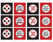 Printable DIY Black and Red Casino Night Poker Playing Card Theme Cupcake Toppers. $5.00, via Etsy.