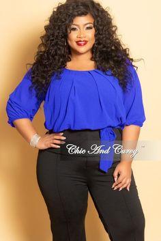 2b70b6d8610 Final Sale Plus Size Chiffon Top in Royal Blue and Black
