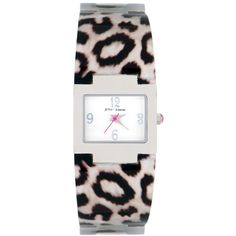 Betsey Johnson Watch, Women's Snow Leopard Print Optical Resin And Stainless Steel Bangle Bracelet