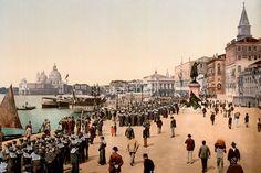 1890s Venice Italy Riva Degli Schiavoni, sailors, photo
