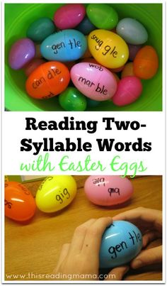 Recycle your plastic Easter Eggs. Reading Two-Syllable Words with Easter Eggs {free printable included} Reading Resources, Reading Activities, Literacy Activities, Reading Skills, Teaching Reading, Fun Learning, Easter Activities, Literacy Centers, Teaching Ideas
