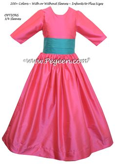 OCEANIC and CERISE PINK Silk FLOWER GIRL DRESSES STYLE 398 BY PEGEEN with 3/4 Sleeves