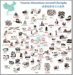 Map of Attractions in Chengdu