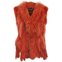 Spoiled Brat Maclauren Burnt Orange Fur Gilet Vest ❤ liked on Polyvore