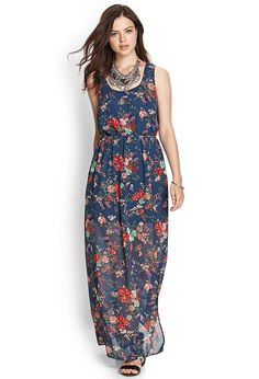 Love 21 - A woven floral printed maxi dress featuring a self-tie keyhole opening at the neckline....