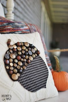Mismatched Button Acorn Sweater Pillow