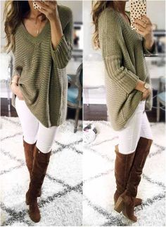 chunky-green-sweater-high-knee-boots