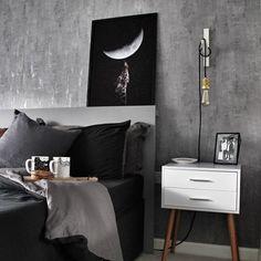 Concrete wall bedroom decor Home Bedroom, Bedroom Wall, Bedroom Decor, Wall Decor, Concrete Wall, Nightstand, Indoor, Bedroom Inspiration, Table