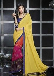 Casual Wear  Georgette Yellow Lace Border Work Saree