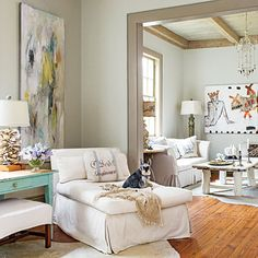 Neutral tones - light wood flooring  101 Living Room Decorating Ideas | Southern Living Regina Lynch