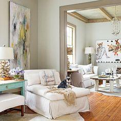 Neutral tones - light wood flooring  101 Living Room Decorating Ideas   Southern Living Regina Lynch