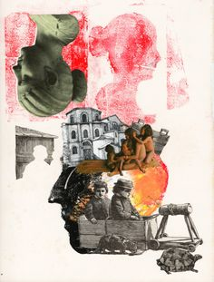 One more step  Collage Monotipia Monoprint The Little Missionary Bruno Barnabé 2016
