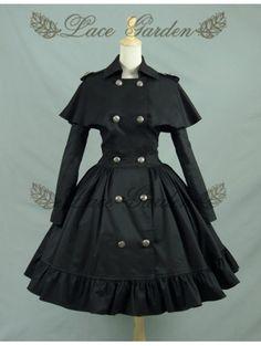 Black/White Long Sleeves Gothic Lolita Cape Coat Dress