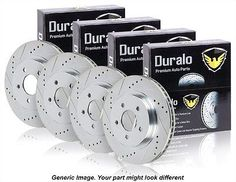 New Complete Set Performance Drilled And Slotted Front & Rear Brake Disc Rotors