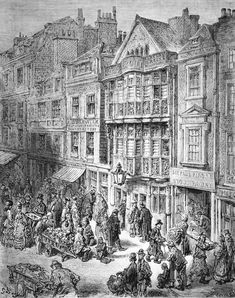 """""""Bishopsgate Street"""" by Gustave Doré, from the book """"London: A Pilgrimage"""", 1872"""