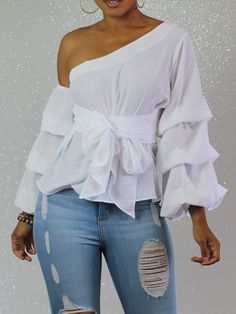 Skew Neck Layered Lantern Sleeve Belted Blouse in 2019 All White Party Outfits, Classy Outfits, Chic Outfits, Dress Outfits, Fall Fashion Outfits, Fashion Dresses, Womens Fashion, Chic Fall Fashion, Women's Dresses