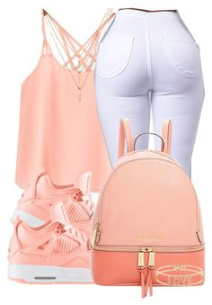 A fashion look from June 2016 featuring MICHAEL Michael Kors backpacks, Spallanzani bracelets and Forever 21 necklaces. Browse and shop related looks. Jordan Outfits, Teenage Outfits, Cute Swag Outfits, Komplette Outfits, Dope Outfits, Teen Fashion Outfits, Look Fashion, Outfits For Teens, Trendy Outfits