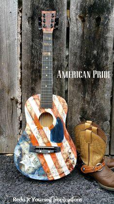Upcycled Guitar: Americana Style Decoupage | Hometalk