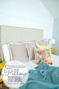Easy Envelope Back Corded Pillows! A simple sewing project anyone can do! -- Tatertots and Jello