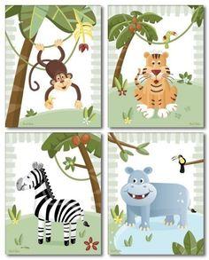 8x10 Set of 4 Art Prints Nursery Decor / SAFARI by smileywalls, $24.90