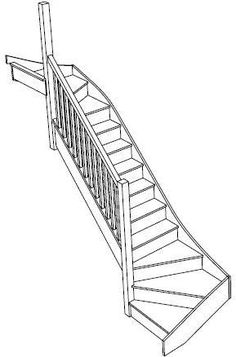 view of a left handed double winder staircase fix sice screw design Timber Staircase, Wooden Staircases, Modern Staircase, Staircase Design, Stairways, Spiral Staircases, Stair Railing, Cottage Stairs, Tiny House Stairs